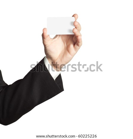 Businessman holding a blank card - stock photo