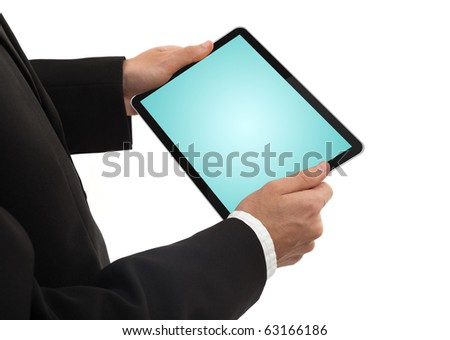 businessman holding a  blank touchpad pc, isolated on white background - stock photo