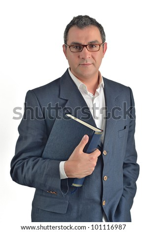 Businessman holding a book isolated on white background - stock photo