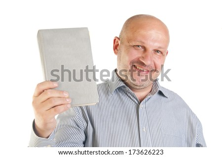 Businessman holding a book. Isolated over white background. - stock photo