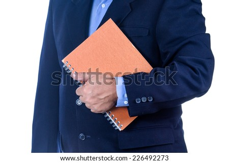 businessman holding a book on white background - stock photo