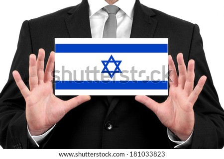 Businessman holding a business card with Israel Flag - stock photo