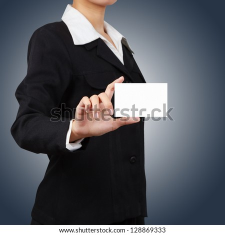 Businessman holding a card. - stock photo