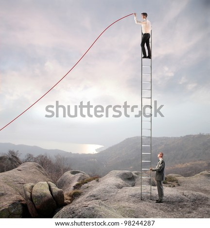 Businessman holding a ladder on which another businessman stands and charts a positive trend graph - stock photo