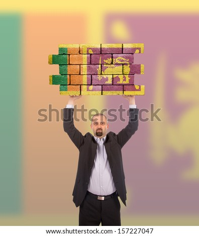 Businessman holding a large piece of a brick wall, flag of Sri Lanka, isolated on national flag - stock photo