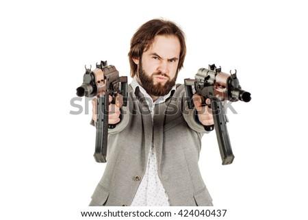 Businessman holding a machine gun isolated on white background - stock photo