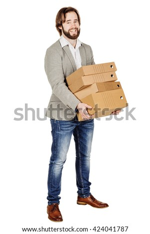 Businessman holding a many folder isolated on white background. Concept of difficult career of a businessman - stock photo