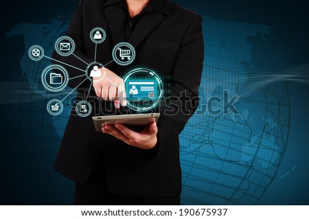 Businessman holding a tablet with Authentication. Concept of security on business. - stock photo