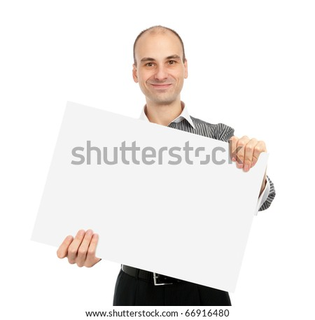 Businessman holding a white board, isolated on white background - stock photo