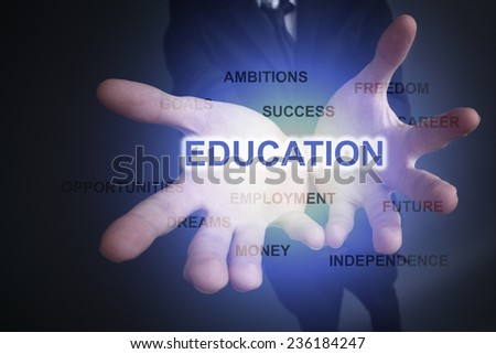 businessman holding a word cloud education. - stock photo