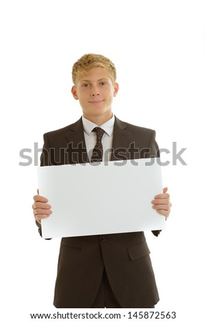 Businessman holding blank banner - stock photo