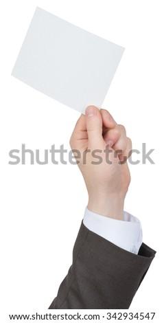Businessman holding blank card on isolated white background - stock photo