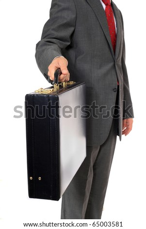 Businessman holding briefcase. All on white background. - stock photo