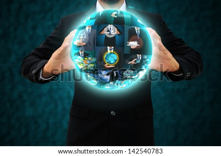 Businessman holding business collection - stock photo