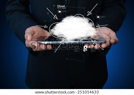 businessman holding cloud network icon on tablet computer - stock photo