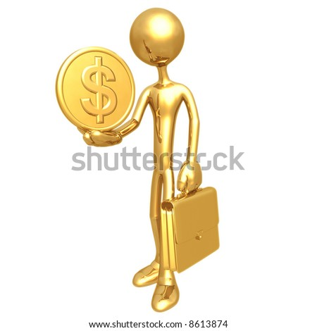 Businessman Holding Dollar Coin - stock photo