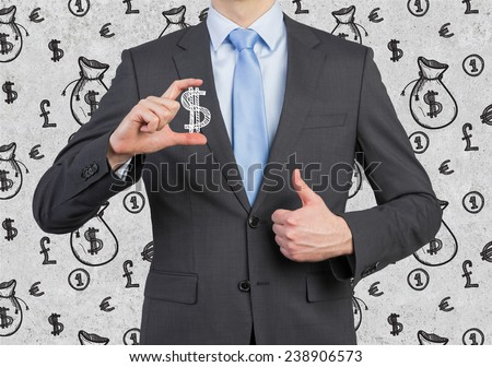 businessman holding drawing money symbol in hand - stock photo
