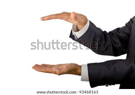 Businessman holding empty hands - stock photo