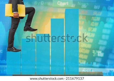 businessman holding files climbing on bar graph to success stock market concept background - stock photo