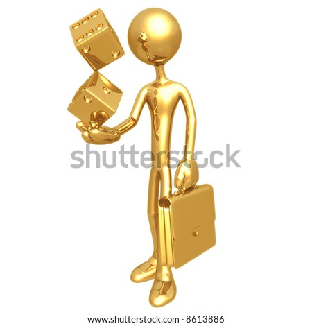 Businessman Holding Golden Dice - stock photo