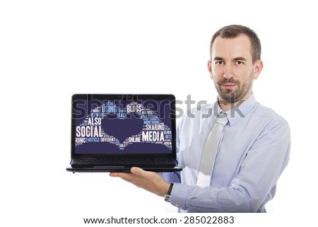 Businessman holding Laptop with Social Media concept - with isolated background - stock photo
