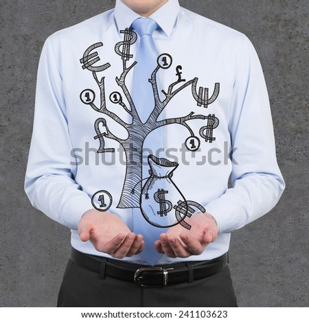 businessman holding money tree on a gray background - stock photo