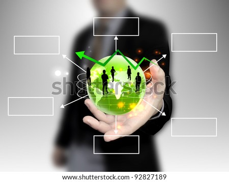 businessman holding people team with world - stock photo