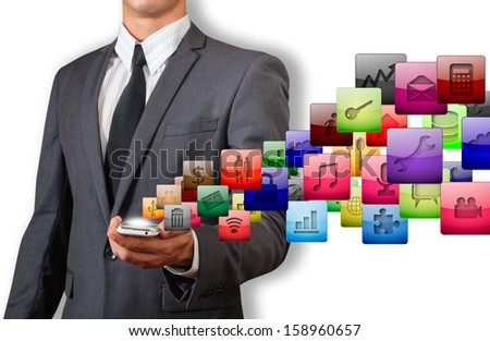 businessman holding phone and glossy icon isolated white - stock photo