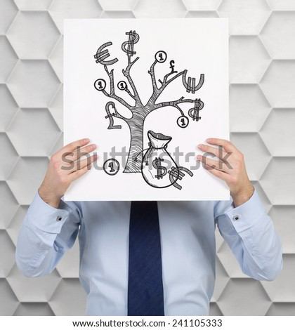 businessman holding poster with drawing money tree - stock photo