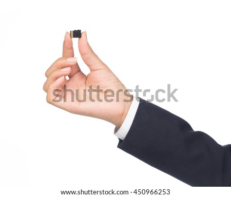 Businessman holding Secure Digital Memory Card Isolated on white background - stock photo