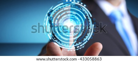 Businessman holding shield safe protection in his hand '3D rendering' - stock photo