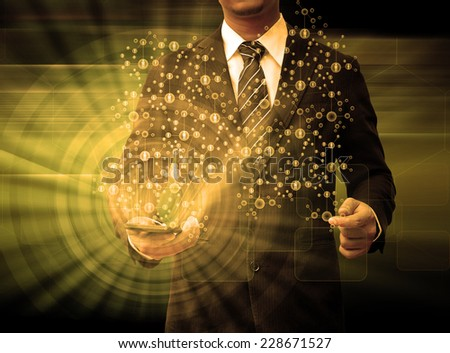 businessman holding smartphone technology and social media - stock photo