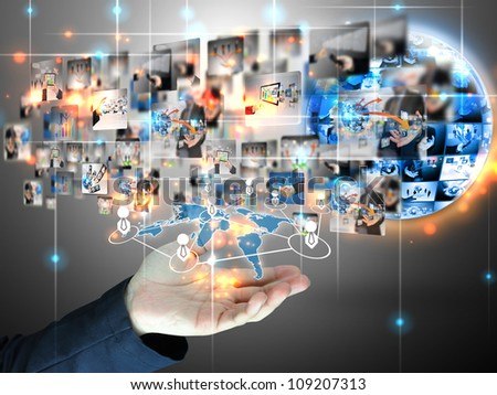 Businessman holding social network - stock photo