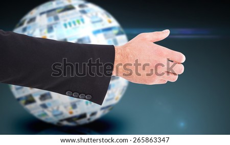 Businessman holding something with his hands against screen sphere showing business advertisement - stock photo