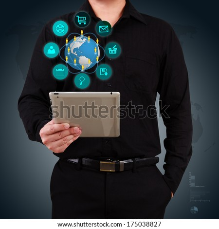 Businessman holding tablet and show icon application on virtual screen. Concept of technology. - stock photo