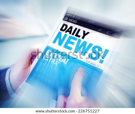 Businessman Holding Tablet Daily News Concept - stock photo