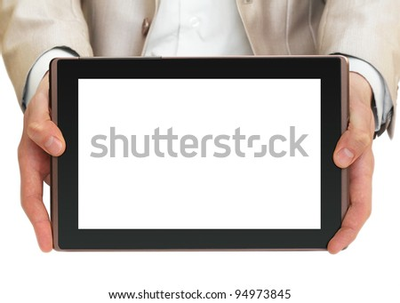 Businessman holding tablet pc with white screen - stock photo