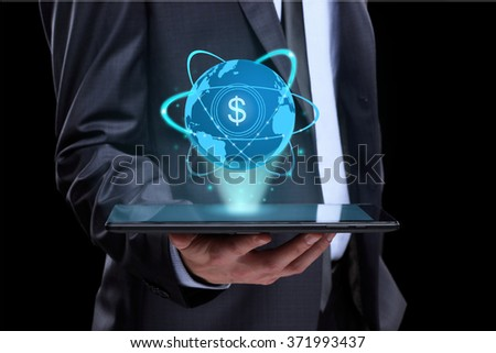 Businessman holding tablet with a projected on-screen icon online trading dollar. business Internet concept. - stock photo