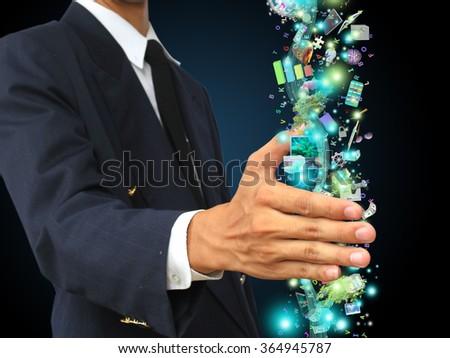 businessman holding technology - stock photo