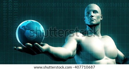 Businessman Holding the World in His Hands Illustration 3D Illustration Render - stock photo