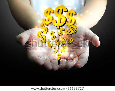 businessman holding US dollar - stock photo