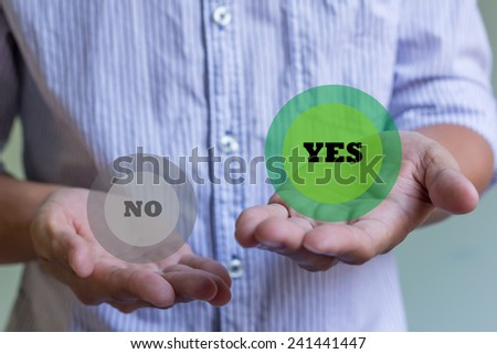 businessman holding word yes and no. Concept of decision making. - stock photo