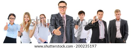 Businessman holds out his hand for a handshake. Isolated on white background - stock photo