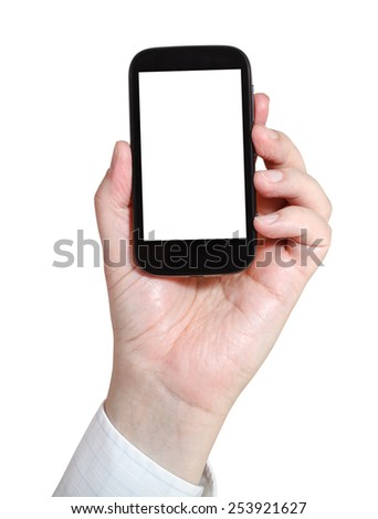 businessman holds smartphone with cut out screen isolated on white background - stock photo