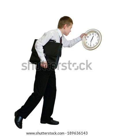businessman hurrying  (with clipping path) - stock photo