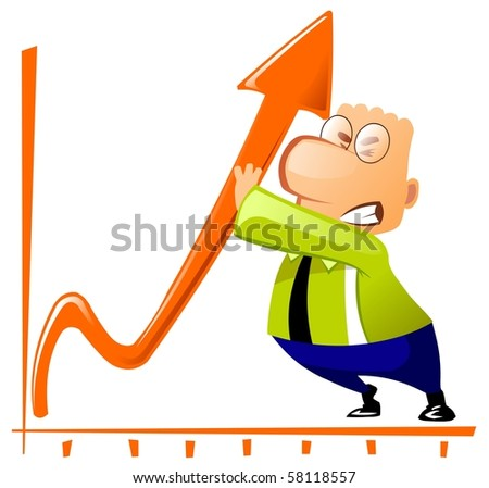 Businessman improves the company's growth performance. - stock photo