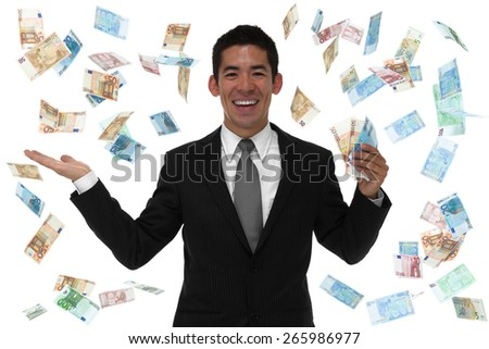 Businessman in a euro rain storm concept - stock photo
