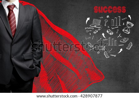 businessman in a red raincoat and drawing success concept on wall - stock photo