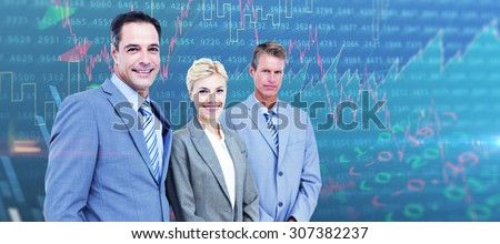 Businessman in a row with his business team against stocks and shares - stock photo