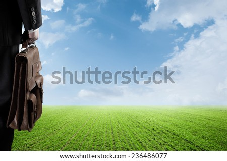 businessman in a suit with a briefcase on a spacious green field with a blue sky - stock photo